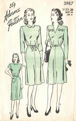 40's WWII Era Advance Dress Pattern 3987 Bust 38