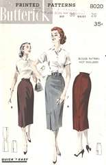 1950's Slim Skirt Pattern with Tab and Pleat Details Waist 26
