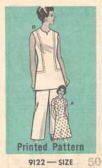 1970's Marian Martin Dress, Tunic Pants Pattern 9122 Bust 54