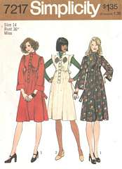 1970's Empire Shirt Dress Simplicity 7217 Pattern Bust 36
