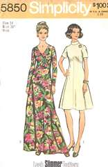 1970's Simplicity 5850 Look-Slimmer V-Neck Dress, Gown Pattern