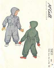 1940's McCall 5831 Child's Snow Suit and Cap Pattern Sz 2