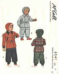 1940's McCall 6241 Two-Piece Snow Suit and Cap Pattern Sz 6