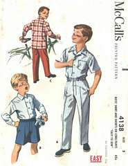 1950's McCall's 4138 Boys Shirt, Pants, Shorts Pattern Sz 5