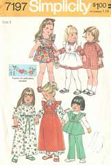 1970's Simplicity 7197 Dress, Pinafore, Pants Pattern Sz 3