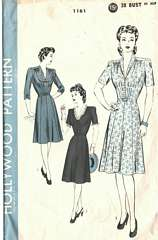 Vintage Hollywood 1161 Shirred Bodice Dress Pattern Bust 38