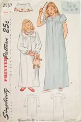 1940's Simplicity 2557 Yoke Nightgown Patterns Size 7