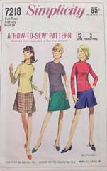 1960's Teen Skirt, Pantskirt, Blouse Pattern Bust 29