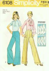 1970's Straight Leg and Wide Leg Pants Pattern Waist26.5