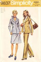 1970's Jacket, Skirt, Pants Pattern Bust 40