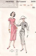 1950's Sheath and Belted Jacket Pattern Bust 34