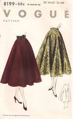 1950's Vogue 8199 Bias Circular Skirt Pattern Waist 26