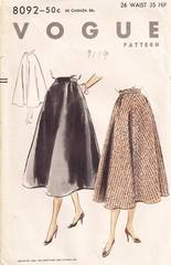 1950's Vogue 8092 Flared Skirt Pattern Waist 26