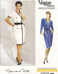 1980's Vogue 2460 Oscar de la Renta Dress Pattern 14-18