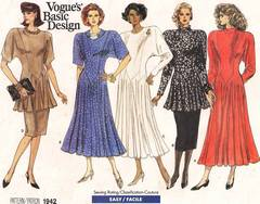 1980's Vogue 1942 Dress, Tunic, Skirt Pattern 8, 10, 12