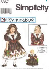 Simplicity 8367 Daisy Kingdom Girls and Doll Dress Pattern 3-6