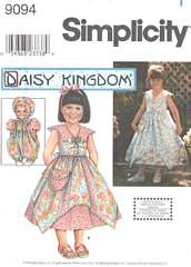 Simplicity 9094 Girls Dress and Doll Romper Pattern 7-14