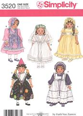 Dresses, Pinafore and Hats Pattern for 18 Inch Dolls