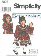 Simplicity 8827 Daisy Kingdom Girls and Doll Dress Pattern 3-6