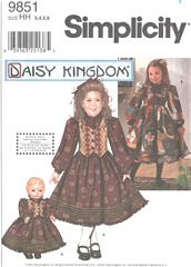 Simplicity 9851 Girls and Doll Dress Pattern Size 3 - 6