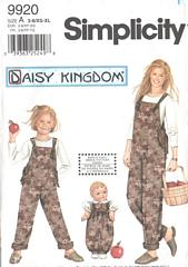 Simplicity 9920 Mother, Daughter and Doll Overalls Pattern