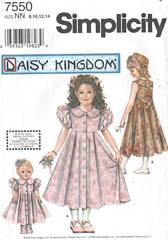 Simplicity 7550 Daisy Kingdom Girls and Doll Dress Pattern 8-14