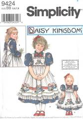 Simplicity 9424 Girls and Doll Dress and Pinafore Pattern Sz 5-8