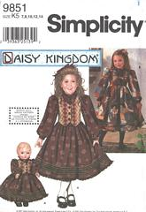 Simplicity 9851 Girls and Doll Dress Pattern Size 7-14