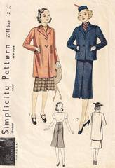 1930's Simplicity 2741 Girls Jacket and Skirt Pattern Size 12