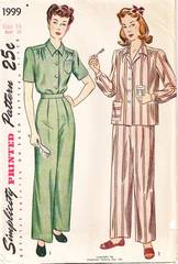 1940's Simplicity 1999 Two-Piece Pajama Pattern Bust 34