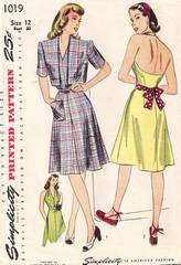 Halter Sun Dress and Bolero 1940's Simplicity 1019 Pattern B30
