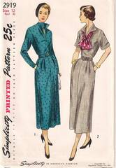 Casual 1940's Simplicity 2919 Slim Dress Pattern Bust 30