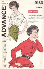 1950's Advance 9183 Bishop Method Blouse Pattern Bust 36