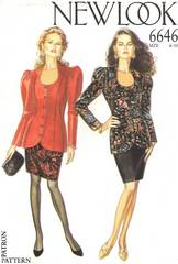 1980's New Look 6646 Jacket and Skirt Pattern Bust 30.5 - 38