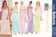 Butterick 5886 Slip Style Evening Dress Pattern Bust 40-44