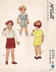 1940's Boys Two-Piece Suit McCall Pattern 6222 Size 3