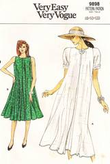1980's Vogue 9898 Back Button Flared Dress Pattern Sz 8-12