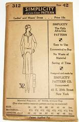 Vintage 1920's Simplicity 312 Deco Dress Pattern Bust 42