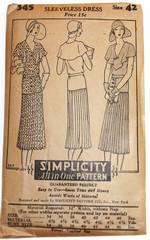 1920's Simplicity 345 Dress Pattern Bust 42