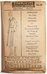 1920's Simplicity 332 Deco Dress Pattern Bust 42