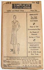 1920's Simplicity 311 Deco Dress Pattern Bust 42