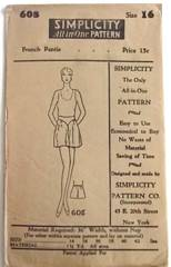 1920's Vintage Simplicity 608 French Pantie Pattern