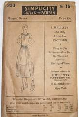 1920's Simplicity 333 Dress Pattern Bust 34