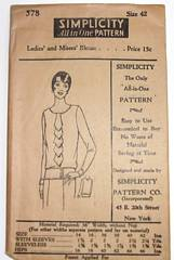 1920's Simplicity 578 Blouse Pattern Bust 42