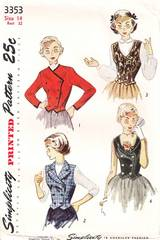 1950 Teen Age Weskit and Jacket Pattern Bust 32