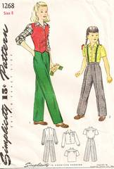 1940's Girls Slack, Weskit and Blouse Pattern Size 8