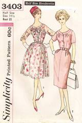 Vintage 60's Two Skirt Dress Pattern Bust 35