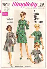 Vintage 60's Simplicity 7512 Shirtwaist Dress Pattern Bust 37