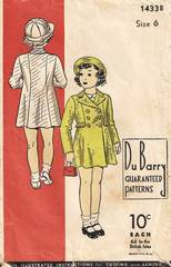 1930's DuBarry Double Breasted Coat Pattern Girls Size 6