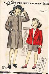1940's Girls Long and Short Coat Pattern Size 12